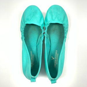 American Eagle Blue Turquoise Flats Size 6